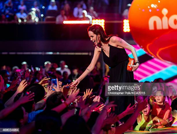Actress Angelina Jolie accepts the Favorite Villain award for 'Maleficent' onstage during Nickelodeon's 28th Annual Kids' Choice Awards held at The...