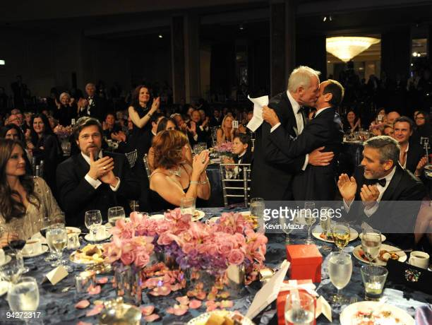 Actress Angelina Jolie actor Brad Pitt Susie Ekins honoree Jerry Weintraub Paul Anka and actor George Clooney attend the UNICEF Ball held at the...