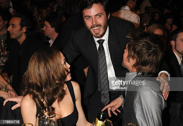 Actress Angelina Jolie Actor Casey Affleck and Actor Brad Pitt onstage at the 13th ANNUAL CRITICS' CHOICE AWARDS at the Santa Monica Civic Auditorium...