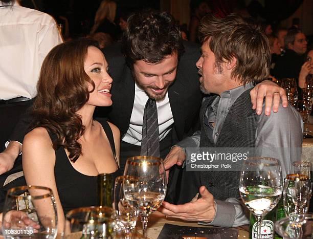 Actress Angelina Jolie Actor Casey Affleck and Actor Brad Pitt inside at the 13th ANNUAL CRITICS' CHOICE AWARDS at the Santa Monica Civic Auditorium...