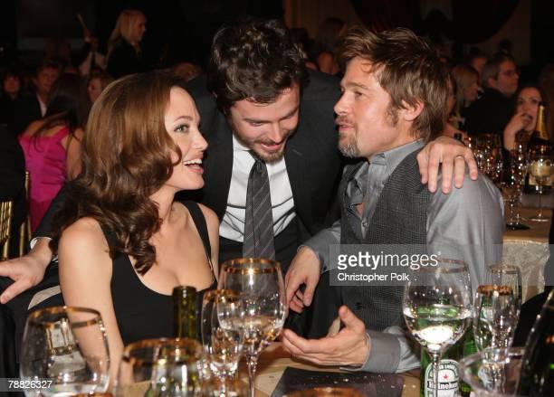 Actress Angelina Jolie, Actor Casey Affleck and Actor Brad Pitt inside at the 13th ANNUAL CRITICS' CHOICE AWARDS at the Santa Monica Civic Auditorium...