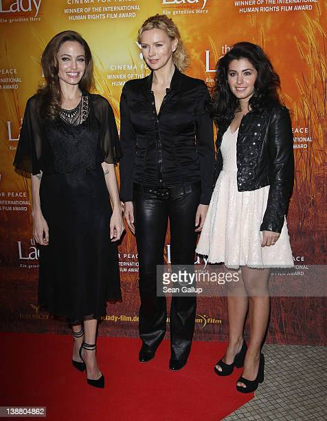 Actress Angelina Jolie actress Veronica Ferres and singer Katie Melua attend the 'The Lady' Premiere during day four of the 62nd Berlin International...