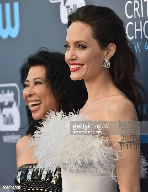 Actress Angelina Jolie and activist Loung Ung attend the 23rd Annual Critics' Choice Awards at Barker Hangar on January 11 2018 in Santa Monica...