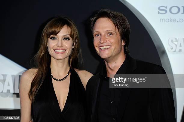 Actress Angelina Jolie and actor August Diehl attend the german premiere of 'Salt' at cinema Cine Star Potsdamer Platz on August 18 2010 in Berlin...
