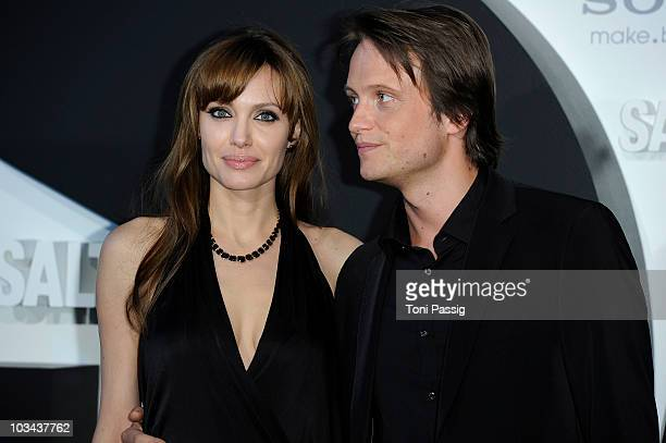 Actress Angelina Jolie and actor August Diehl attend the german premiere of 'Salt' at cinema Cine Star Potsdamer Platz on August 18 2010 in Berlin...