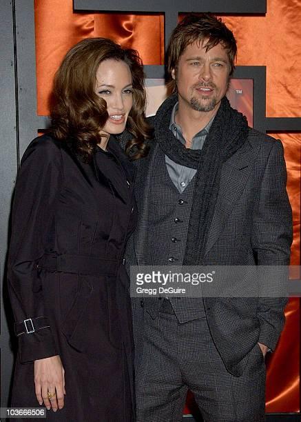 Actress Angelina Jolie and actor Brad Pitt arrive at the 13th ANNUAL CRITICS' CHOICE AWARDS at the Santa Monica Civic Auditorium on January 7, 2008...