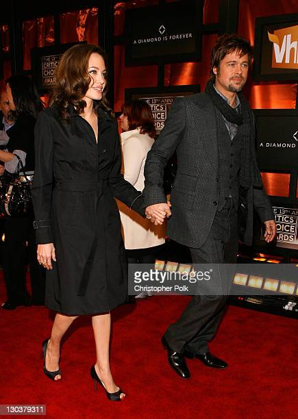 Actress Angelina Jolie and Actor Brad Pitt arrive at the 13th ANNUAL CRITICS' CHOICE AWARDS at the Santa Monica Civic Auditorium on January 7 2008 in...