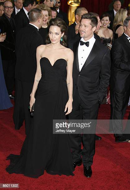 Actress Angelina Jolie and actor Brad Pitt arrive at the 81st Academy Awards at The Kodak Theatre on February 22 2009 in Hollywood California