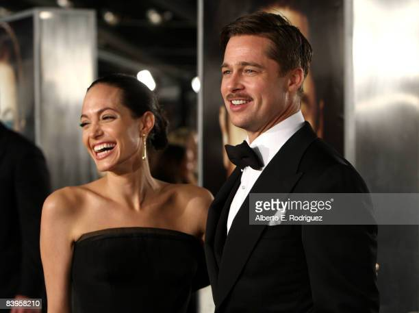 Actress Angelina Jolie and actor Brad Pitt arrive at the premiere of Paramount's The Curious Case Of Benjamin Button held at Mann's Village Theatre...