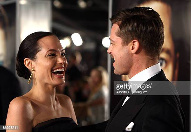 Actress Angelina Jolie and actor Brad Pitt arrive at the premiere of Paramount's 'The Curious Case Of Benjamin Button' held at Mann's Village Theatre...