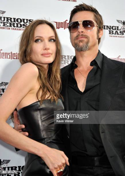 Actress Angelina Jolie and actor Brad Pitt arrive at the premiere of Weinstein Co's Inglourious Basterds held at Grauman's Chinese Theatre on August...