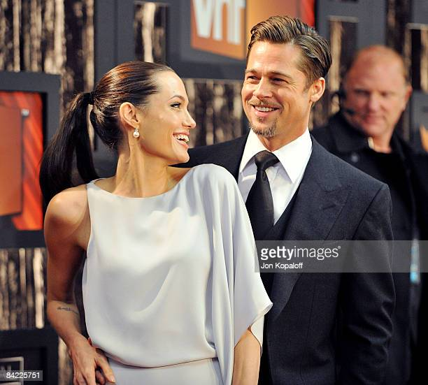 Actress Angelina Jolie and actor Brad Pitt arrive at VH1's 14th Annual Critics' Choice Awards held at the Santa Monica Civic Auditorium on January 8,...