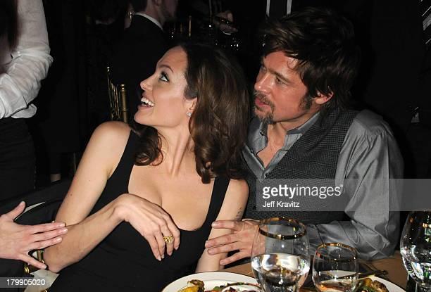 Actress Angelina Jolie and Actor Brad Pitt at the 13th ANNUAL CRITICS' CHOICE AWARDS at the Santa Monica Civic Auditorium on January 7 2008 in Santa...