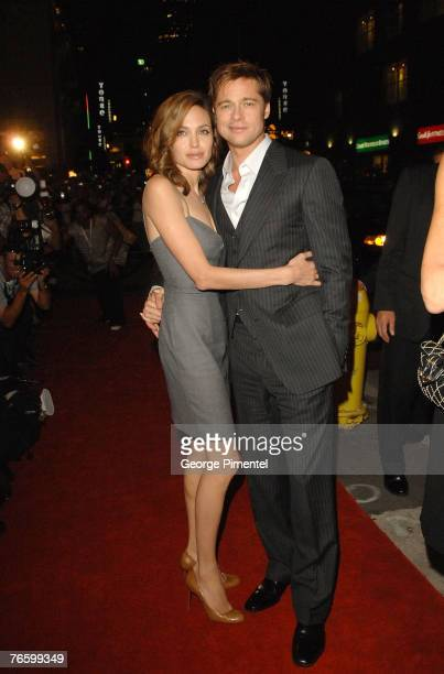 Actress Angelina Jolie and actor Brad Pitt at the premiere of 'The Assassination of Jesse James by the Coward Robert Ford' at the Elgin Theatre at...