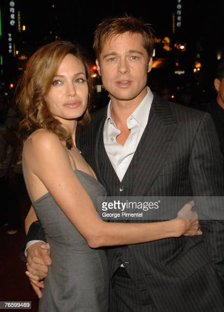 Actress Angelina Jolie and actor Brad Pitt at the premiere of The Assassination of Jesse James by the Coward Robert Ford at the Elgin Theatre at The...