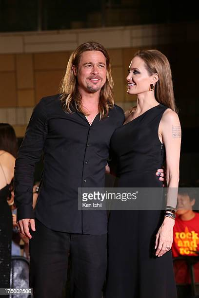 Actress Angelina Jolie and actor Brad Pitt attend the 'World War Z' Japan Premiere at Roppongi Hills on July 29 2013 in Tokyo Japan The film will...