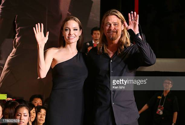 Actress Angelina Jolie and actor Brad Pitt attend the 'World War Z' Japan Premiere at Roppongi Hills on July 29, 2013 in Tokyo, Japan. The film will...