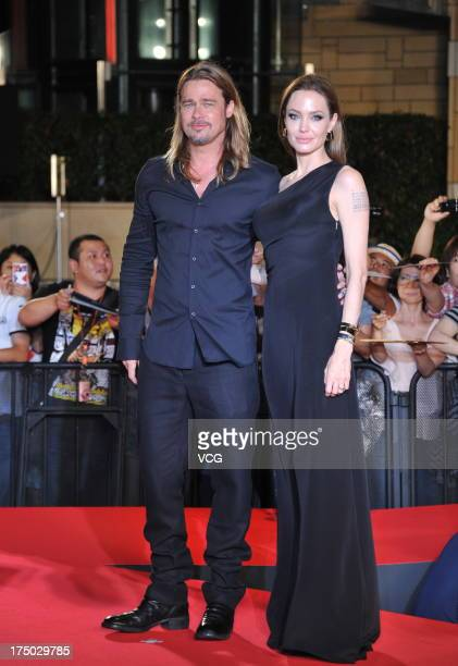 Actress Angelina Jolie and actor Brad Pitt attend the 'World War Z' Japan Premiere at Roppongi Hills on July 29 2013 in Tokyo Japan