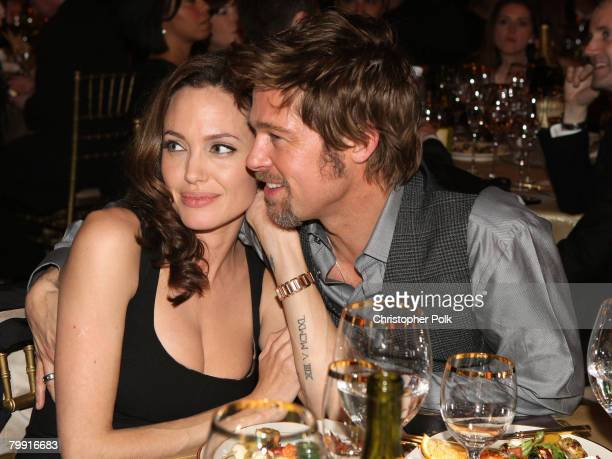 Actress Angelina Jolie and actor Brad Pitt inside at the 13th ANNUAL CRITICS' CHOICE AWARDS at the Santa Monica Civic Auditorium on January 7, 2008...