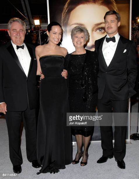 Actress Angelina Jolie and actor Brad Pitt with parents arrive at the Los Angeles Premiere The Curious Case of Benjamin Buttons at Mann's Village on...