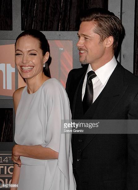 Actress Angelina Jolie and Brad Pitt arrive at VH1's 14th Annual Critics' Choice Awards held at the Santa Monica Civic Auditorium on January 8 2009...