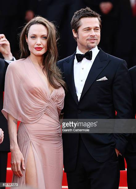 Actress Angelina Jolie and Brad Pitt attend the Inglourious Basterds Premiere held at the Palais Des Festivals during the 62nd International Cannes...