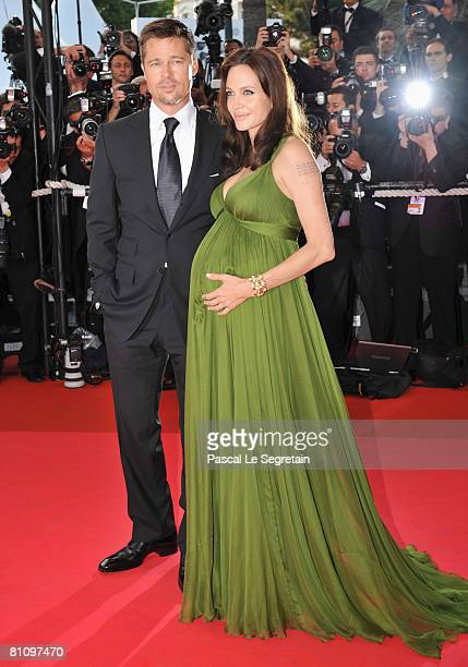 Actress Angelina Jolie and Brad Pitt attend the 'Kung Fu Panda' premiere at the Palais des Festivals during the 61st Cannes International Film...