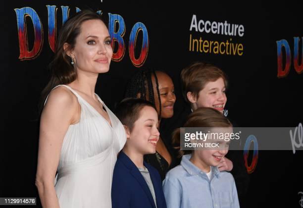 US actress Angelina Jolie and children Knox JoliePitt Zahara Marley JoliePitt Vivienne Marcheline JoliePitt and Shiloh JoliePitt arrive for the world...