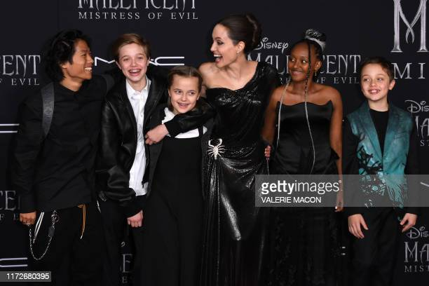 TOPSHOT US actress Angelina Jolie and children Pax Thien JoliePitt Shiloh Nouvel JoliePitt Vivienne Marcheline JoliePitt Zahara Marley JoliePitt and...