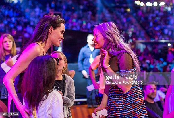 Actress Angelina Jolie and Debby Ryan attend Nickelodeon's 28th Annual Kids' Choice Awards held at The Forum on March 28 2015 in Inglewood California