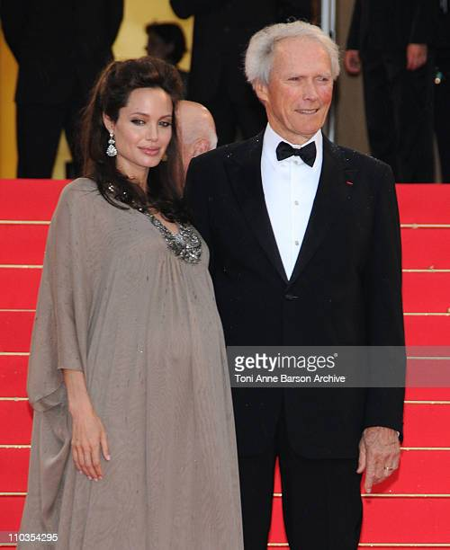 Actress Angelina Jolie and director Clint Eastwood attend the 'Changeling' Premiere at the Palais des Festivals during the 61st Cannes International...