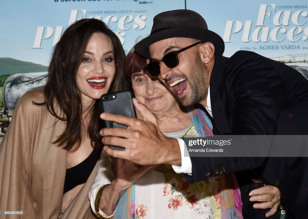 Actress Angelina Jolie and directors Agnes Varda and JR attend the premiere of Cohen Media Group's 'Faces Places' at the Pacific Design Center on October 11, 2017 in West Hollywood, California.