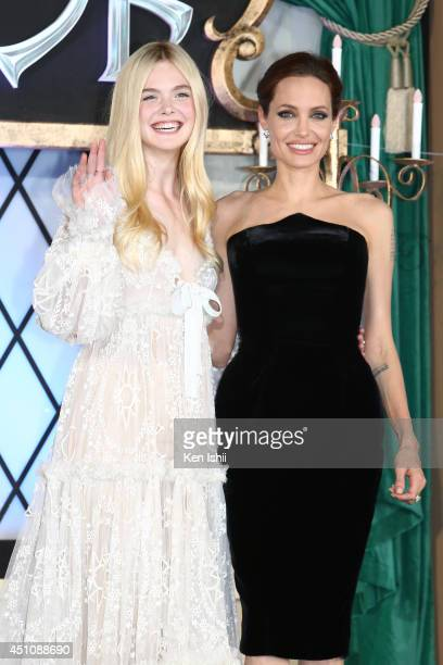 Actress Angelina Jolie and Elle Fanning attend 'Maleficent' Japan premiere at Ebisu Garden Place on June 23 2014 in Tokyo Japan