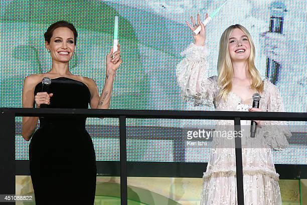 "Actress Angelina Jolie and Elle Fanning attend ""Maleficent"" Japan premiere at Ebisu Garden Place on June 23, 2014 in Tokyo, Japan."