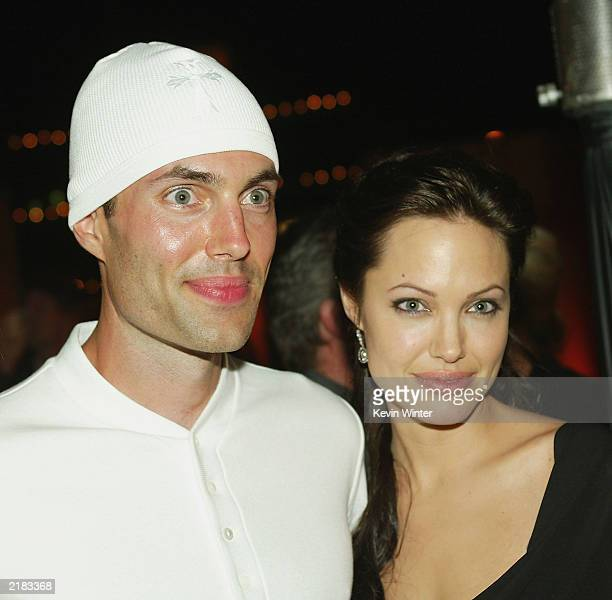 Actress Angelina Jolie and her brother James Haven at the afterparty for the premiere of 'Lara Croft Tomb Raider The Cradle of Life' on July 21 2003...