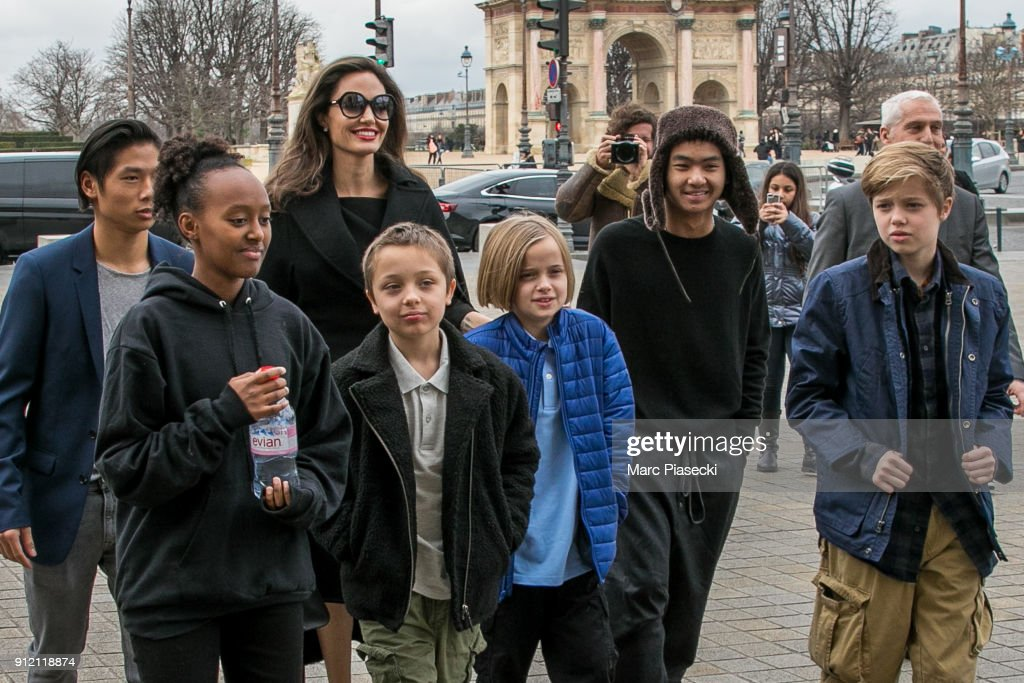 Actress Angelina Jolie and her children Maddox Jolie-Pitt, Shiloh Jolie-Pitt, Vivienne Marcheline Jolie-Pitt, Knox Leon Jolie-Pitt, Zahara Jolie-Pitt and Pax Jolie-Pitt are seen arriving at the Louvre museum on January 30, 2018 in Paris, France.