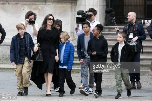 Actress Angelina Jolie and her children Maddox JoliePitt Shiloh JoliePitt Vivienne Marcheline JoliePitt Knox Leon JoliePitt Zahara JoliePitt and Pax...