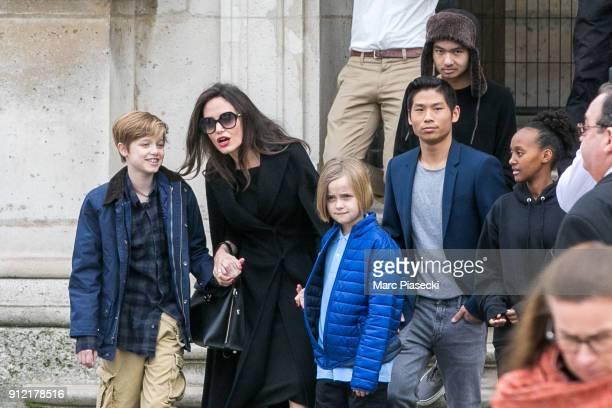 Actress Angelina Jolie and her children Maddox JoliePitt Shiloh JoliePitt Vivienne Marcheline JoliePitt Zahara JoliePitt and Pax JoliePitt are seen...