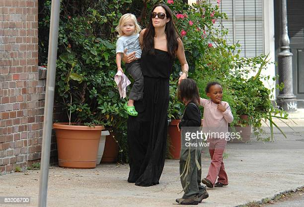 Actress Angelina Jolie and her children Zahara, Pax, and Shiloh are seen walking in the French Quarter on October 6, 2008 in New Orleans, Louisiana.