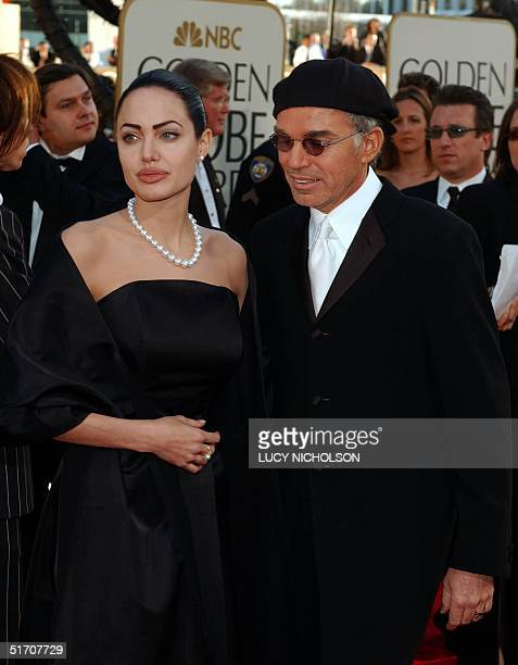 Actress Angelina Jolie and her husband Billy Bob Thornton arrive for the 59th Annual Golden Globe Awards at the Beverly Hilton in Beverly Hills...