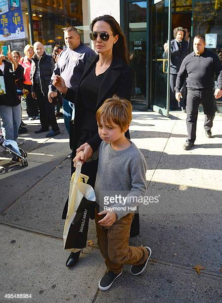 Actress Angelina Jolie and Knox JoliePitt is seen coming of Barnes Noble in Midtown on November 3 2015 in New York City