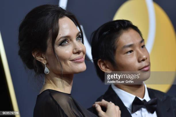 Actress Angelina Jolie and son Pax Thien Jolie-Pitt attend the 75th Annual Golden Globe Awards at The Beverly Hilton Hotel on January 7, 2018 in...