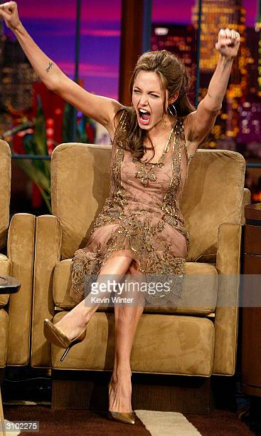Actress Angelina Jolie appears on 'The Tonight Show with Jay Leno' at the NBC Studios on March 16 2004 in Burbank California
