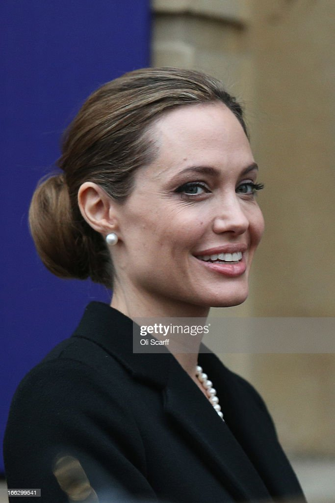 Actress Angelina Jolie arrives at Lancaster House before attending the G8 Foreign Ministers' conference on April 11, 2013 in London, England. G8 Foreign Ministers are holding a two day meeting where they will discuss the situation in the Middle East; including Syria and Iran, security and stability across North and West Africa, Democratic People's Republic of Korea and climate change. British Foreign Secretary William Hague will also highlight five key policy priorities.