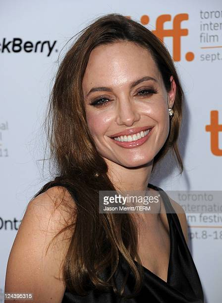 Actress Angelina Jolie arrives at 'Moneyball' Premiere at Roy Thomson Hall during the 2011 Toronto International Film Festival on September 9 2011 in...
