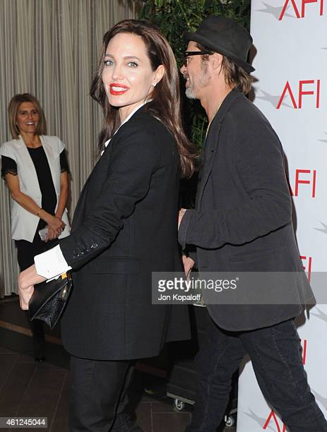 Actress Angelina Jolie arrives at the 15th Annual AFI Awards at Four Seasons Hotel Los Angeles at Beverly Hills on January 9 2015 in Beverly Hills...