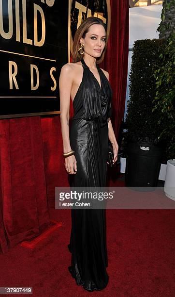 Actress Angelina Jolie arrives at The 18th Annual Screen Actors Guild Awards broadcast on TNT/TBS at The Shrine Auditorium on January 29, 2012 in Los...