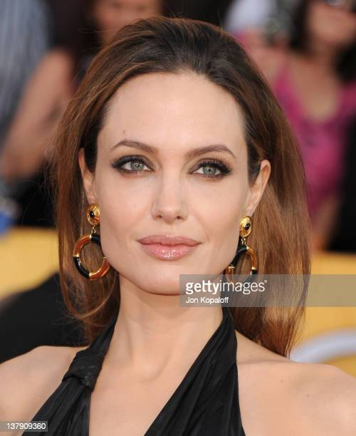 Actress Angelina Jolie arrives at the 18th Annual Screen Actors Guild Awards held at The Shrine Auditorium on January 29, 2012 in Los Angeles,...