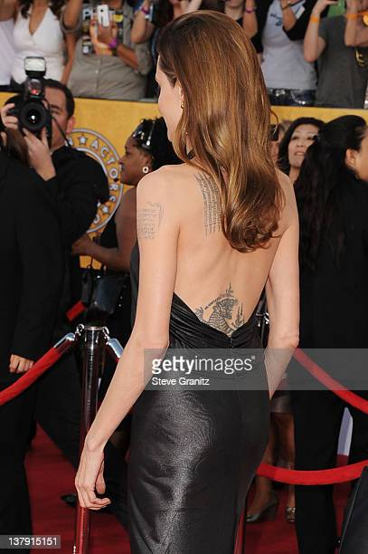 Actress Angelina Jolie arrives at the 18th Annual Screen Actors Guild Awards held at The Shrine Auditorium on January 29 2012 in Los Angeles...