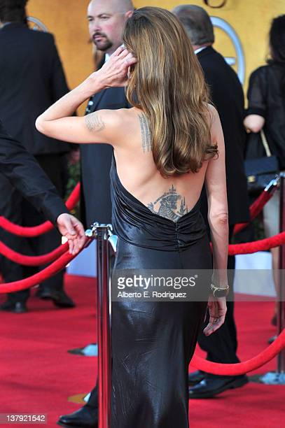 Actress Angelina Jolie arrives at the 18th Annual Screen Actors Guild Awards at The Shrine Auditorium on January 29 2012 in Los Angeles California